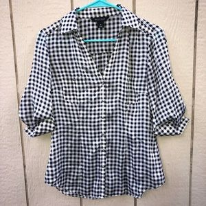 WHBM gingham blouse size 6